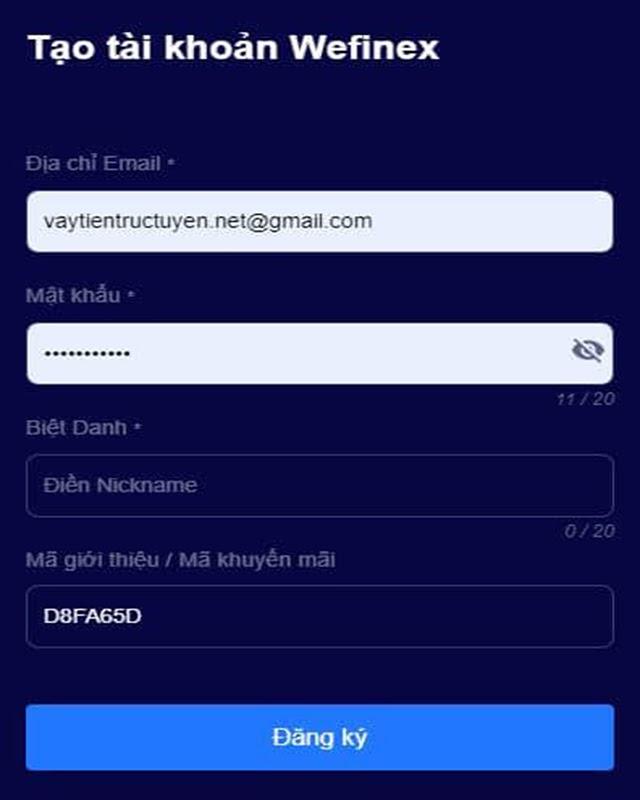 Hướng dẫn cách tạo tài khoản Wefinex
