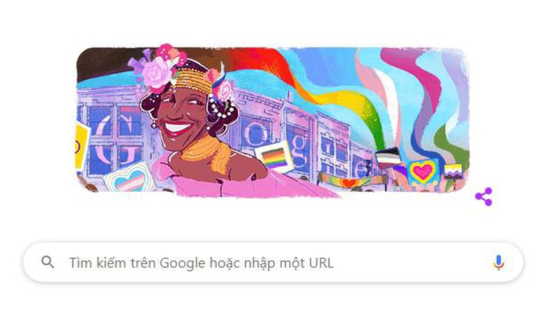 Google doodle vinh danh Marsha P. Johnson