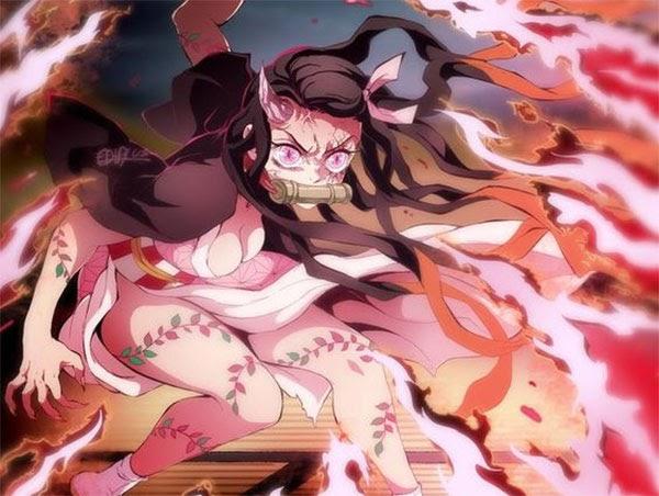Hình dáng Nezuko khi hoá quỷ